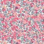 Liberty boutons roses / Verso rose pale / Texte fuchsia
